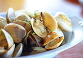 Thai cuisine name Fried shellfish.,Made of sea shells. — Stock Photo