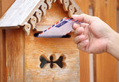 Male hand pull mail from mailbox — Stock Photo