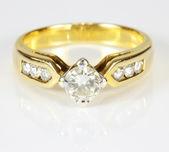 Wedding gold diamond ring on white background — Stock Photo
