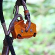 Safety tether springhook and safety rope part of climbing equipm — Stock Photo #33908957