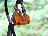 Safety tether springhook and safety rope part of climbing equipm — Stock Photo