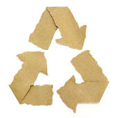 Recycle symbol torn from Recycle Paper — Stock Photo