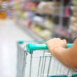 Woman hand with shopping cart in supermarket — Stock Photo #39321837