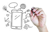 Hand drawing mobile phone with social media concept — Stock Photo