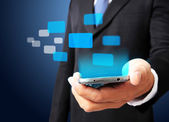 Business man show smart phone with virtual digital network inter — Stock Photo