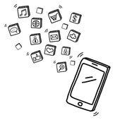 Hand draw mobile phone with social media concept  — Zdjęcie stockowe
