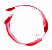 Hand-painted red circle water color on white background — Stok fotoğraf
