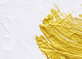White and gold acrylic textured painting background  — Stock Photo