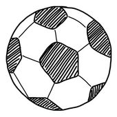 Hand draw soccer ball on white — Foto Stock
