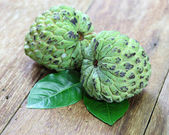Custard apple fruit on the wood table. — Zdjęcie stockowe
