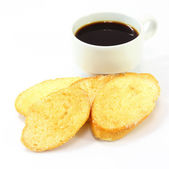 Breakfast with toasts coffee on white — Stockfoto