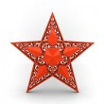 Постер, плакат: Red star with ornaments