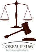 Scales of justice & hammer of justice — Stock Vector