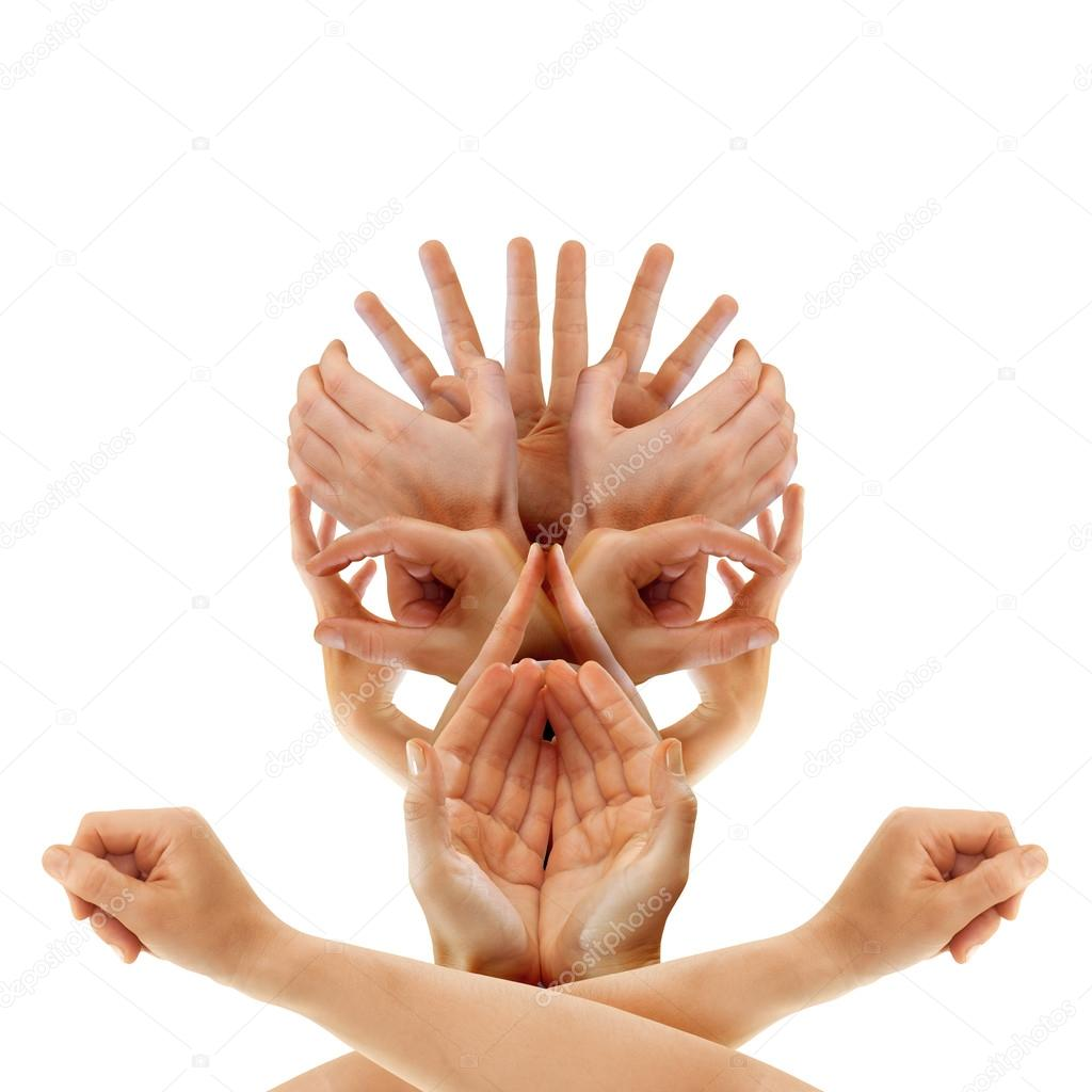 Pirate's skull formed by caucasian hands — Stock Photo #12196348