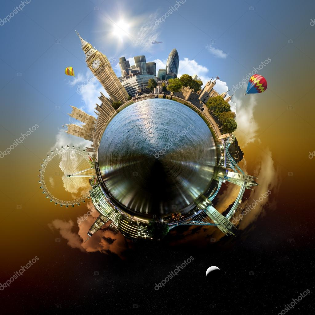Miniature planet of London, with all important buildings and attracions of the city — Stock Photo #12196361