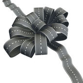 Flower knot of road ribbon — Stock Photo