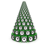 Speaker boxes forming a Christmas pine tree — Stock Photo