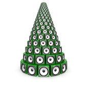 Lautsprecher-Boxen, die Bildung einer Weihnachts-Kiefer — Stockfoto