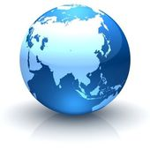 Blue globe marble facing Asia — Stock Photo