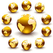 Golden globe marbles — Stock Photo