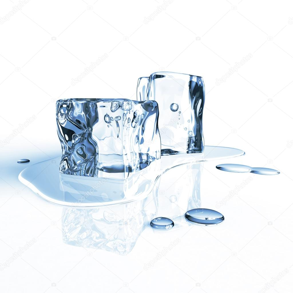 Pair of melting ice cubes isolated on a white reflecting table  Stock Photo #12286893