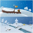 Two  winter illustrations — Stock Photo