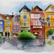 Watercolor in town - Stock Photo