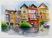 Watercolor in town — Stock Photo