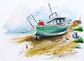 Green fishing ship 4 — Stock Photo