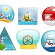 Icons of sea scene — Stock Vector