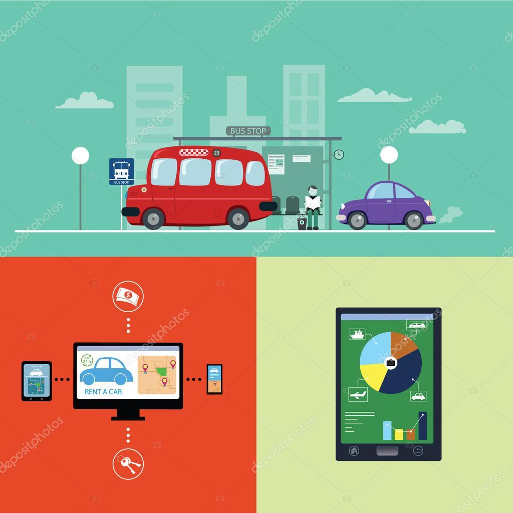 插图公交车站及车租的图形