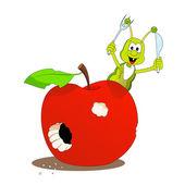 Apple and little caterpillar — Stock Vector