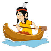 Indian in the boat — Stock Vector