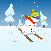 Snowman and winter sports — Stock Vector