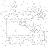 Snowman outline — Stock Vector