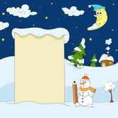Winter funny illustration — Stock Vector