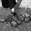 One foot on the ground — Stock Photo