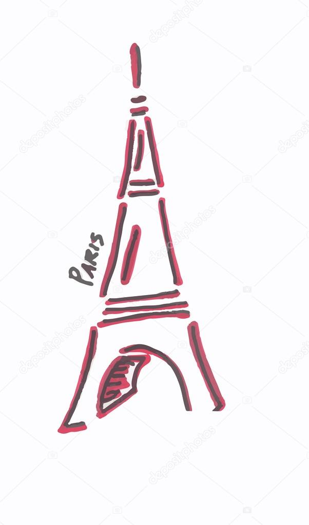 风格化手绘埃菲尔铁塔