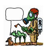 Spraying pesticide — Stock Vector