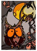 Owl, nocturnal bird — Stock Vector