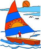 Sailing boat — Stock Vector