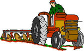 Tractor at work on white background — Stockvektor