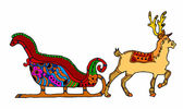 Christmas sleigh with reindeer on white background — Vecteur