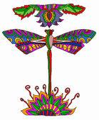 Multicolor dragonfly — Stock Vector