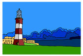 Lighthouse on white background — Stock Vector