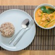 Pork curry with water spinach (Tae-pho soup) — Stock Photo