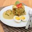 Fried rice green curry with pork and boil egg — Stock Photo