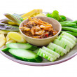 Nam Prik Kung Siab, Thai chili and shrimp dipping sauce and Fres — Stock Photo