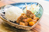 Thailand Northern Style Hang Lay Pork Curry with boiled rice — Stock Photo
