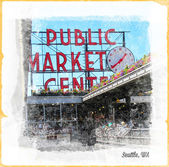 Pike Place Artwork — Stock Photo
